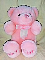 Aurora Baby Girl Pink Teddy Bear Plush Animal Bow 9 Inches Sitting Sewn Nose