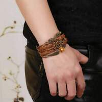 Harry Potter Braid Leather Bracelet Snitch Angel Wings Owl Deathly Hallow