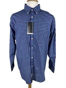 Men's Dress Shirt Size 2XB Big Ink Blue Plaid Luxury Cotton Roundtree & Yorke