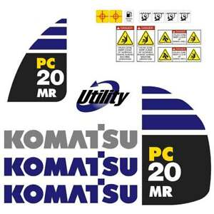 Komatsu PC20MR-2  Decals Stickers, repro Kit for Mini Excavator