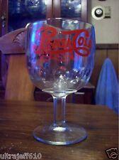 Vintage 70's PEPSI COLA Red Lettering Thumb Print Goblet Glass