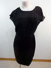 NWT ANDREW MARC NEW YORK BLACK SEMI SHEER FUZZY TOP AND SATIN SKIRT DRESS SIZE 6