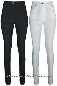 Ladies Black High Waist Trousers Quality Work School Stretch SUPER SKINNY Pants.