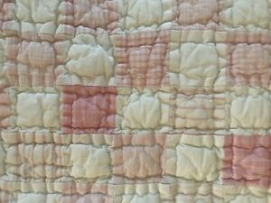 Pottery Barn Kids Quilted Pillow Sham Pink White Patchwork Madras Standard Size
