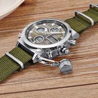 Digital Quartz Nylon Canvas Sport Men Military Army Green Analog Wrist Watch USA
