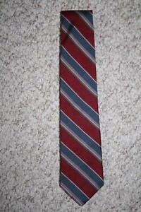 Stonehenge all silk burgundy red & blue mens men suit neck tie striped dress man