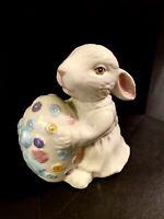 "Vintage Porcelain Ceramic Bunny with Colored Egg 5""x 5"""