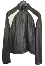 Calvin Klein Men's Fine Soft Leather Jacket, XXL, Black with White Accents