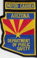 ARIZONA DEPT PUBLIC SAFETY MOTOR CARRIER POLICE PATCH AZ STATE SHAPED