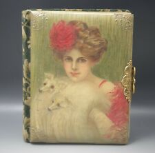 Victorian Celluloid Photo Album Girl With Borzoi Dogs Cover 29 Photos Rrpc
