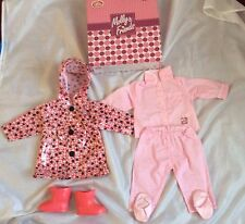New Boxed Chad Valley Molly And Friends Dolls Twin Outfits Rain Mac & Pyjamas.