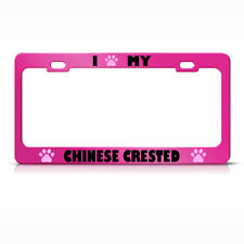 Chinese Crested Paw Love Pet Dog Metal License Plate Frame Tag Holder