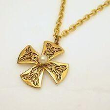 Vintage Maltese Cross Faux Pearl Pendant Necklace Mid Century Pretty Filigree