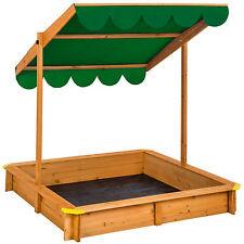 Sandkasten mit verstellbaren Dach Sandkiste Spielhaus Sitzbänke Holz Plane grün