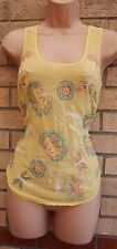 WAREHOUSE FLORAL EMBROIDERED BEADED MULTI COLOR YELLOW TUNIC TOP BLOUSE 10 S