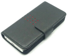 Luxury Extra Fine Black Leather Wallet Flip Case Cover Pouch Apple iPhone 5G 5S