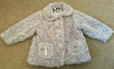 Baby Girls Grey Fluffy Coat Jacket Smart Casual Button Up Age 18 Months B28