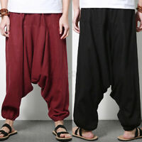 Casual Men's Linen Pants 100% Cotton Wide Leg Pants Yoga Joggers Harem Trousers