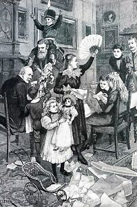 A. Forestier CHRISTMAS MORNING 1896 Dolls Presents Toy Soldiers Matted Print