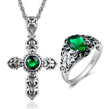 Emerald Topaz 925 Sterling Silver gemstone Jewelry  Sets