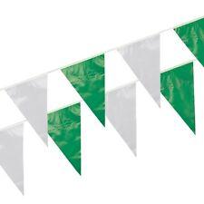 5 Wimpelketten Folie 10 m grün/weiss wetterfest Party Deko