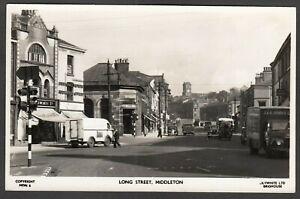 Postcard Middleton nr Manchester Lancashire view of Long Street vintage RP
