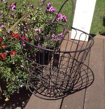 "THE FARM BUREAU Metal Egg Basket Waltham MA 10 1/2"" Tall Primitive Farmer"