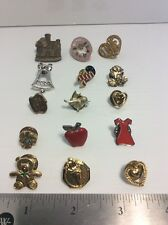 Lot of 15 Collectible Mixed Metal Hat Pins Pinbacks