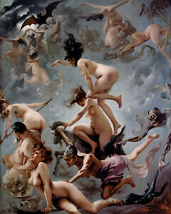 Witches on the Sabbath by Luis Falero nude vision Faust painting wall art print