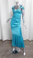 GIVENCHY Womens Silk Satin Turquoise Sleeveless Full Length Long Dress 38/2