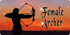 """Female Archer Archery Decal Bumper Sticker Personalize Text 4"""" x 8"""" Bow Arrow"""