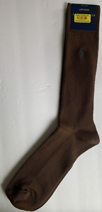 NWT Polo Ralph Lauren Men's Dress Socks Fair Isle, Brown Skull Pony Sz 10-13
