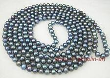7-8mm ,femme,noir,culture d'eau douce perle, collier, 90cm