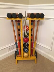VTG Croquet Set COMPLETE Wheeled Stand Mallets Balls Wickets Stakes Vintage LOOK