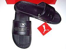 Puma Mens PopCat Sandals Slip on Flip Flops Slides Black on Black Size 13 NWT