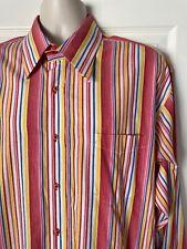 BARDELLI BEVERLY HILLS MEN'S DRESS SHIRT 2XL RED BLUE WHITE FRENCH CUFFS