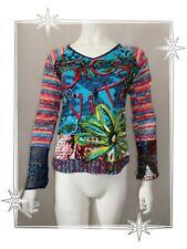 B  - Haut T-shirt Fantaisie Bleu Imprimé Broderies Savage Culture Taille M