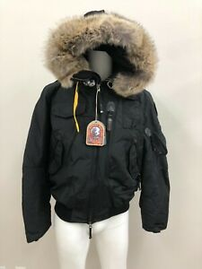 PARAJUMPERS NWT MENS DOWN BOMBER GOBI WITH FUR TRIM BEIGE ON BLACK SIZE 3XL