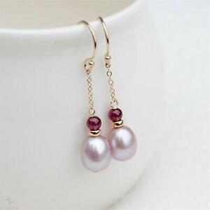 Pink Pearl Garnet Gold Filled Handwork Dangle Link Earring Natural Flawless