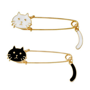 2 Pcs Gold Tone Pin Brooch Enamel Cat Brooch Sweater Scarf Large Safety Pin