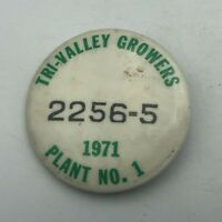 1971 Tri-Valley Growers California Canning Employee ID Badge Pin Vintage Rare S7