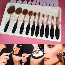 10PCS Toothbrush Elite Oval Multipurpose Makeup Brushes Set Rose Gold + Black
