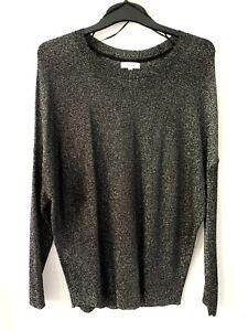 Reiss Black Metalic Glitter Thread Fine Knit Jumper Sweater Tunic Top Uk S 8 10