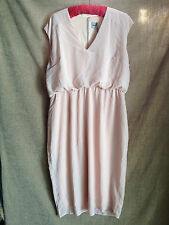 ASOS Baby Pink Nude V-Neck Pencil Dress Blouson Waist Cocktail Party Size 18