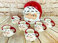 "Vintage Santa Claus Christmas Cookie Jar & 6 Mugs 1955 50""s handmade retro"