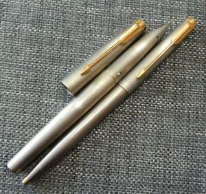 Vintage Parker T-1 Fountain Pen & Ballpoint Pen Titanium Double Jewel  #1332