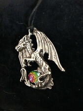 "Pewter ""DRAGON"" Black Cord Necklace ""Keeper of the almighty Magic Crystal"""