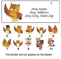 30 Return Address Labels Favor tags Owl Buy 3 Get 1 free (ow1)