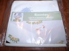 """Tobin Stamped Embroidery Napkins Rooster DAISY 17"""" Pack of 4"""