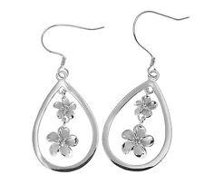 Tear Drop Dangle Wire Rhodium Earrings Silver 925 Hawaiian Plumeria Flower In
